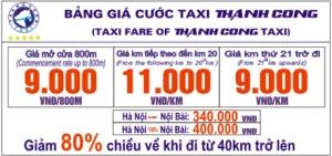 Bảng giá Taxi Thành công